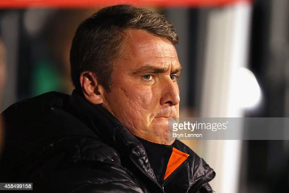 Blackpool Manager Lee Clark looks on prior to the Sky Bet Championship match between Fulham and Blackpool at Craven Cottage on November 5 2014 in...