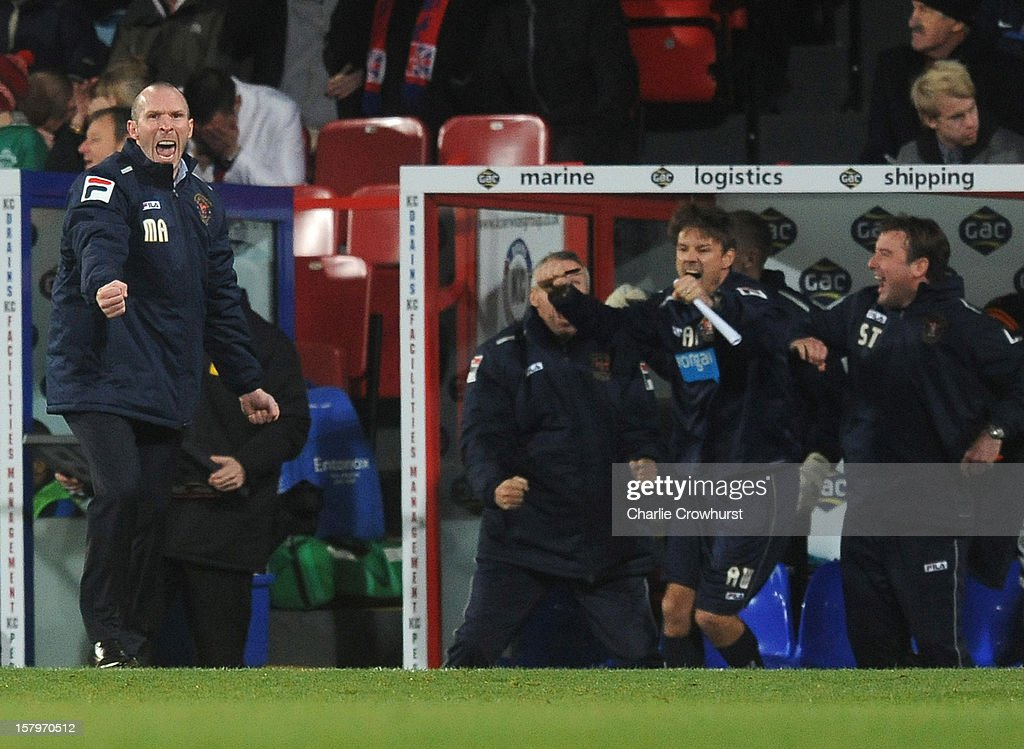Blackpool manager Michael Appleton celebrates after his side score a late equaliser during the npower Championship match between Crystal Palace and Blackpool at Selhurst Park on December 08, 2012 in London, England.