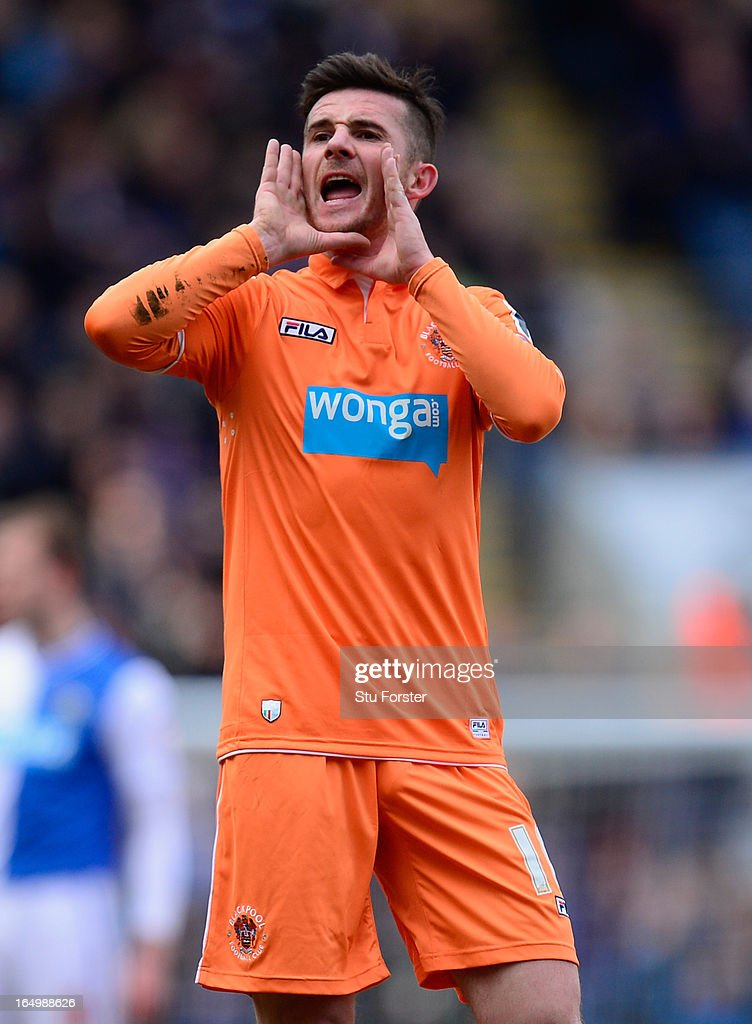 Blackpool player Barry Ferguson reacts during the npower Championship match between Blackburn Rovers and Blackpool at Ewood park on March 29 2013 in...
