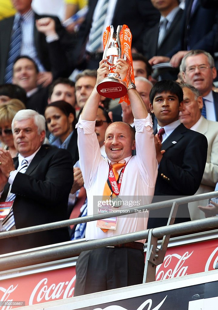 Blackpool team manager Ian Holloway celebrates his teams victory during the Championship play off final at Wembley Stadium on May 22 2010 in London...
