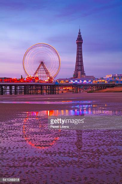 Blackpool Tower and beach at low tide at twilight