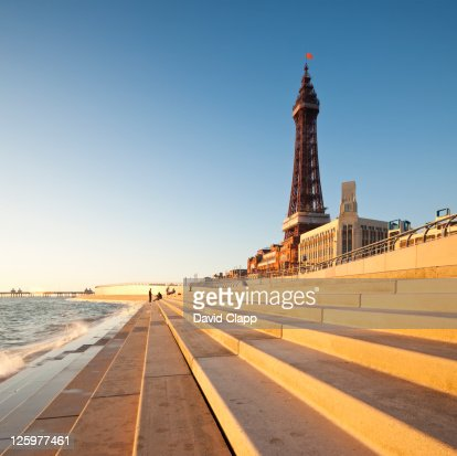 Blackpool Tower, created and built by Charles Tuke and James Maxwell, on Blackpool Beach, Blackpool, Lancashire, England, UK