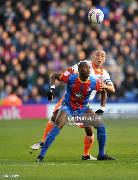 Blackpool's Alex Baptiste and Crystal Palace's Yannick Bolasie during the npower Football League Championship match at Selhurst Park London