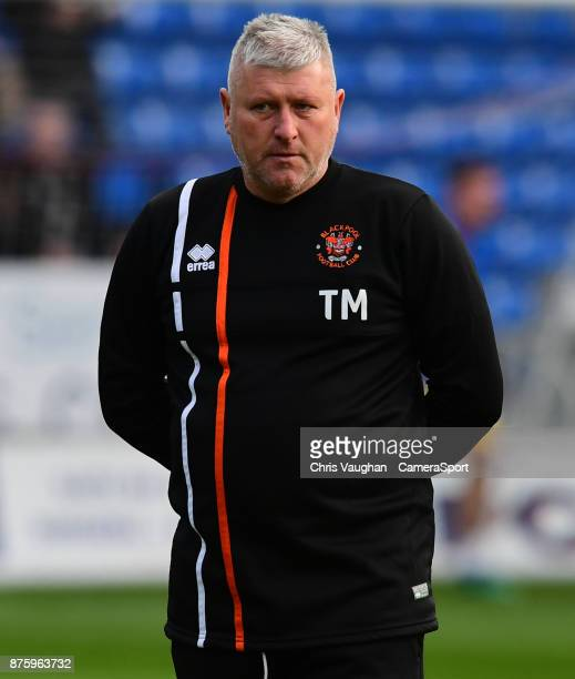 Blackpool's assistant manager Terry McPhillips during the prematch warmup prior to the Sky Bet League One match between Peterborough United and...