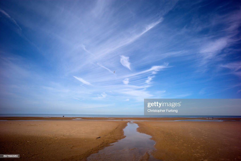 Blackpool's beach is warmed in the sunshine on June 19, 2017 in Blackpool, England. The UK has officially been put on heatwave alert as the Government issued a level three amber heat warning as temperatures are set to increase. In some parts of the Uk temperatures are expected to peak at 34C.