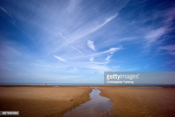 Blackpool's beach is warmed in the sunshine on June 19 2017 in Blackpool England The UK has officially been put on heatwave alert as the Government...
