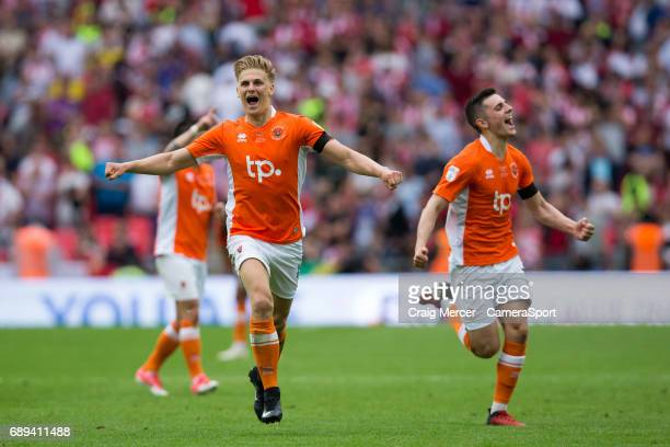 Blackpool's Brad Potts celebrates at the final whistle during the EFL Sky Bet League Two PlayOff Final match between Blackpool and Exeter City at...