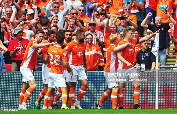 Blackpool's Brad Potts celebrates scoring his sides first goal during the EFL Sky Bet League Two PlayOff Final match between Blackpool and Exeter...