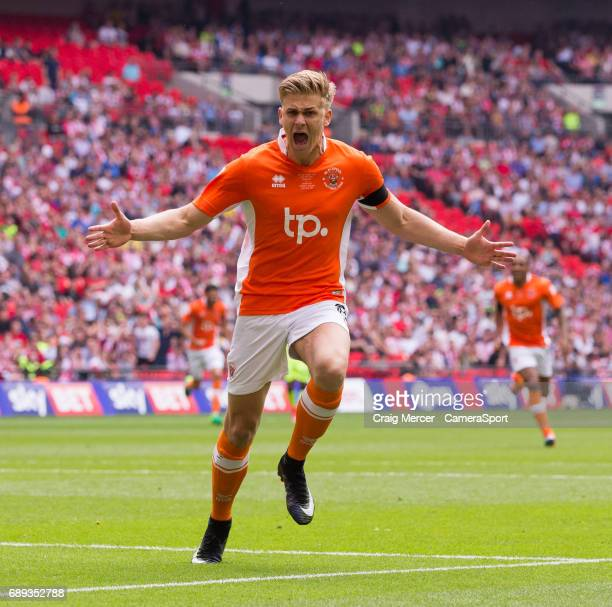 Blackpool's Brad Potts celebrates scoring the opening goal during the EFL Sky Bet League Two PlayOff Final match between Blackpool and Exeter City at...