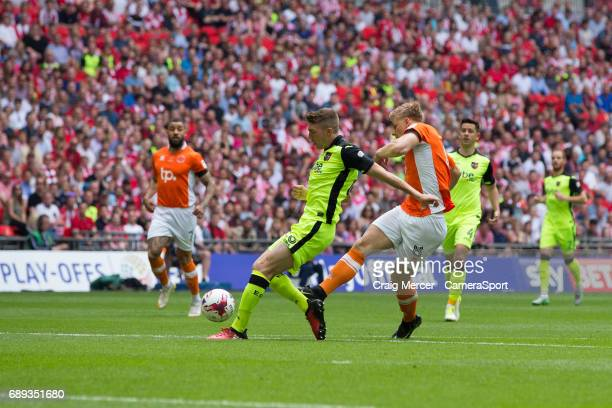 Blackpool's Brad Potts scores the opening goal during the EFL Sky Bet League Two PlayOff Final match between Blackpool and Exeter City at Wembley...