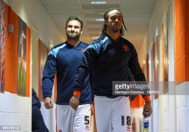 Blackpool's Charles Dunne and Clark Robertson as they make their way out of the dressing room before the game