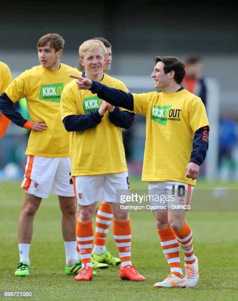Blackpool's Jack Redshaw and Mark Cullen training before the game