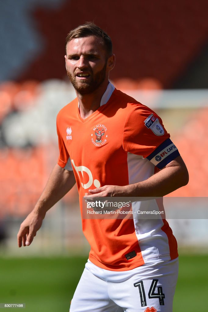Blackpool's Jimmy Ryan in action during the Sky Bet League One match between Blackpool and Milton Keynes Dons at Bloomfield Road on August 12, 2017 in Blackpool, England.