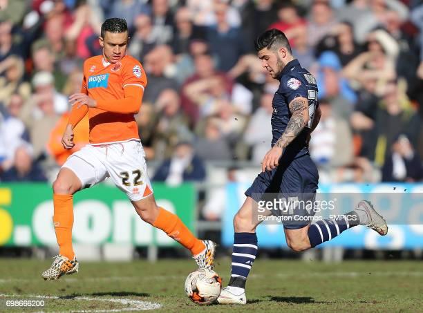 Blackpool's Jose Cubero and Leeds United's Alex Mowatt