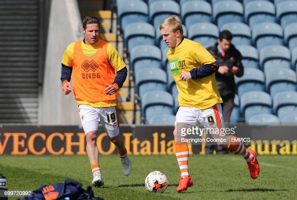 Blackpool's Mark Cullen and David Norris training before the game