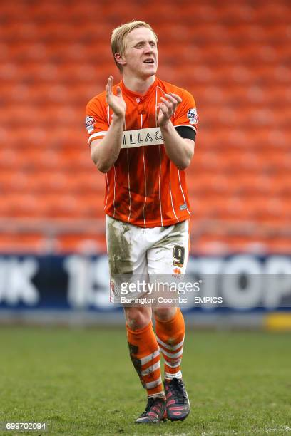 Blackpool's Mark Cullen applauds the home support