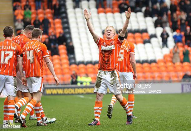 Blackpool's Mark Cullen celebrates scoring against Southend United
