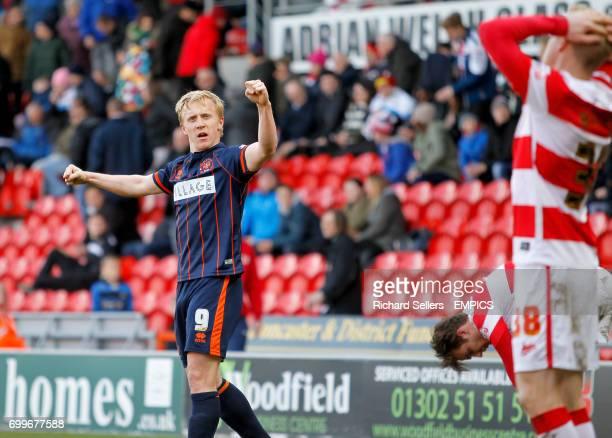 Blackpool's Mark Cullen celebrates the away win