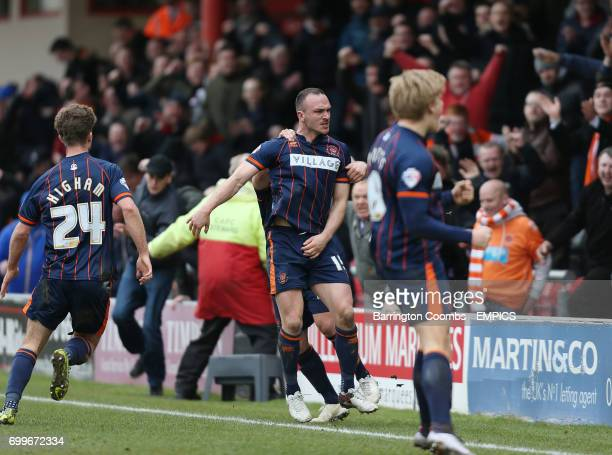 Blackpool's Tom Aldred celebrates scoring his sides second goal of the game
