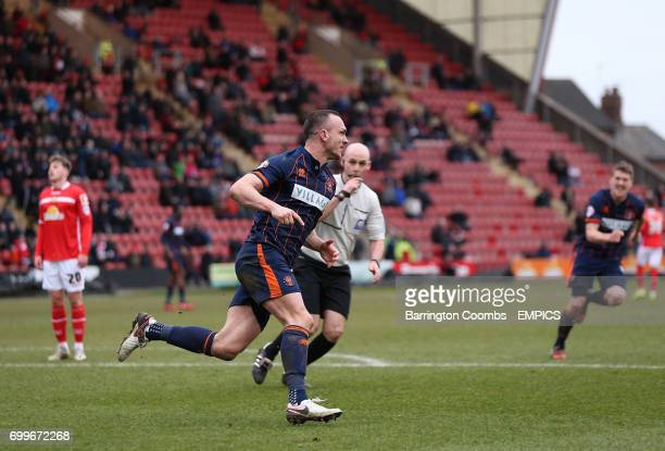 Blackpool's Tom Aldred celebrates scoring his sides seond goal of the game