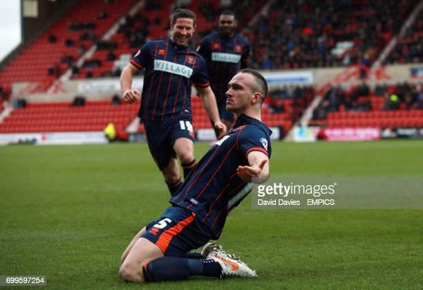 Blackpool's Tom Aldred celebrates scoring their first goal