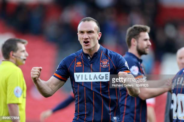 Blackpool's Tom Aldred celebrates the away win