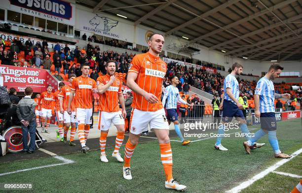 Blackpool's Tom Aldred heads out onto the pitch