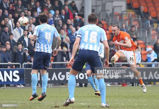 Blackpool's Tom Aldred sees this shot land on the roof of the net during the game against Coventry City
