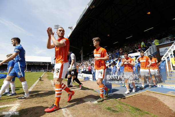 Blackpool's Tom Aldred walks out at the ABAX Stadium