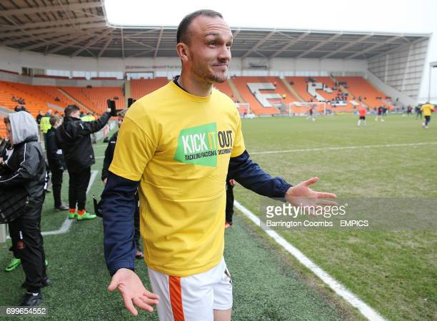 Blackpool's Tom Aldred wearing a Kick It Out tshirt before the game against Coventry City