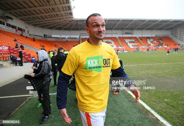 Blackpool's Tom Aldred wearing a Kick It Out tshirt before the match