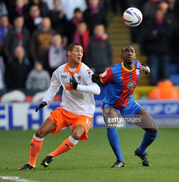 Blackpool's Tomas Ince and Crystal Palace's Yannick Bolasie during the npower Football League Championship match at Selhurst Park London