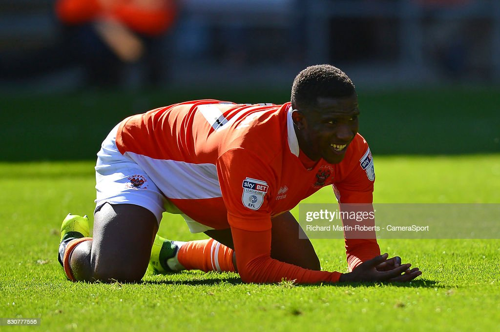 Blackpool's Viv Solomon-Otabor reacts to a missed chance during the Sky Bet League One match between Blackpool and Milton Keynes Dons at Bloomfield Road on August 12, 2017 in Blackpool, England.