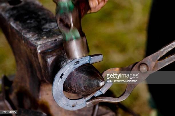 Blacksmith making a horseshoe, Kocyubinskoe, Kiev, Ukraine