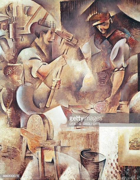 Blacksmiths at work detail from La Forge painting by Wladimir Baranoff Rossine oil on canvas 172x210 cm oil on canvas