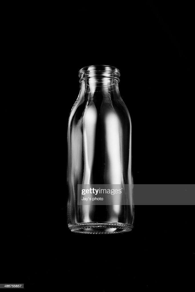 Black&white milk Bottle : Stock Photo