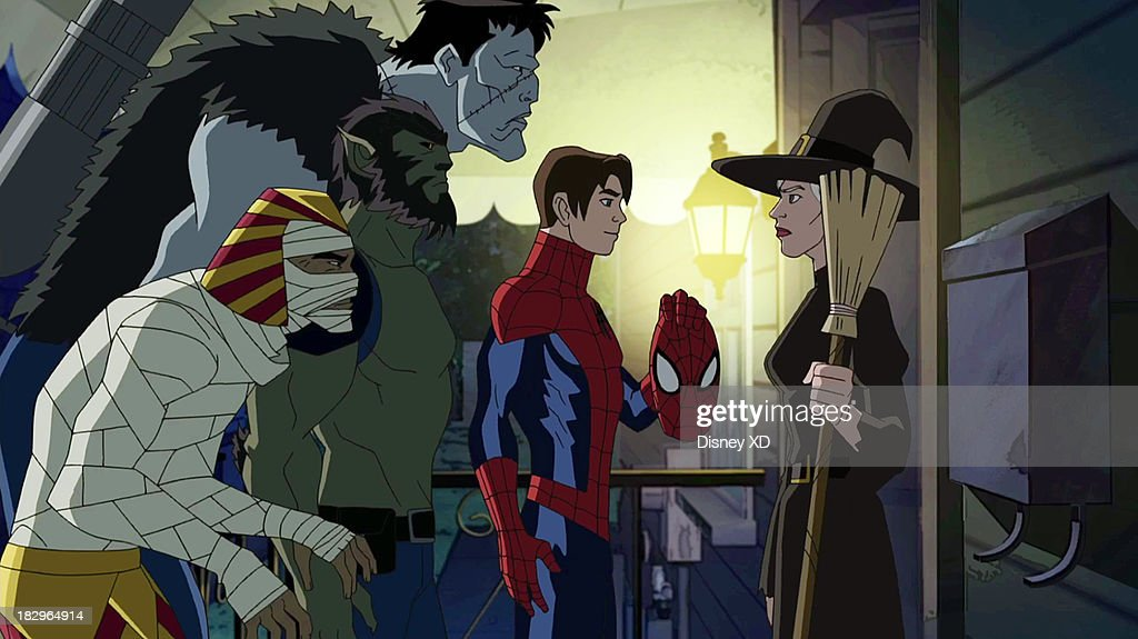 MAN - 'Blade and The Howling Commandos' - Its Halloween for Marvels Ultimate Spider-Man, but theres no time for Spider-Man and his friends to trick-or-treat when they find themselves attacked by evil vampires led by Dracula himself. Spidey's only hope of stopping a world takeover is to team up with Nick Furys secret team of super-powered monsters, The Howling Commandos. Led by Jack Russell, aka Werewolf by Night, The Howling Commandos include vampire hunter Blade, The Living Mummy, Frankensteins Monster and Man-Thing. 'Marvel's Ultimate Spider-Man' makes its Disney Channel debut in a special one-hour Halloween episode SATURDAY, OCTOBER 5 (9:00 p.m., ET/PT). An encore presentation will air SUNDAY, OCTOBER 13 (11:00 a.m., ET/PT) on the Marvel Universe block on Disney XD. (Image by Marvel via Getty Images) THE LIVING MUMMY, JACK RUSSEL, FRANKENSTEIN'S MONSTER, SPIDER-MAN, AUNT MAY