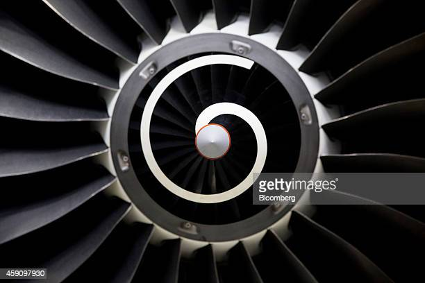 Blades are seen on a V2500 aircraft engine manufactured by International Aero Engines AG at a test cell preparation area inside the plant of MTU...