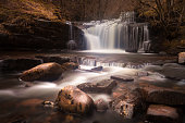 Near Merthyr Tydfil in the South Wales valleys Blaen y Glyn Waterfalls are a series of closely connected falls