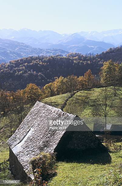Blague valley Ariege Pyrenees France Agert at bottom of the peaks of the Ariege