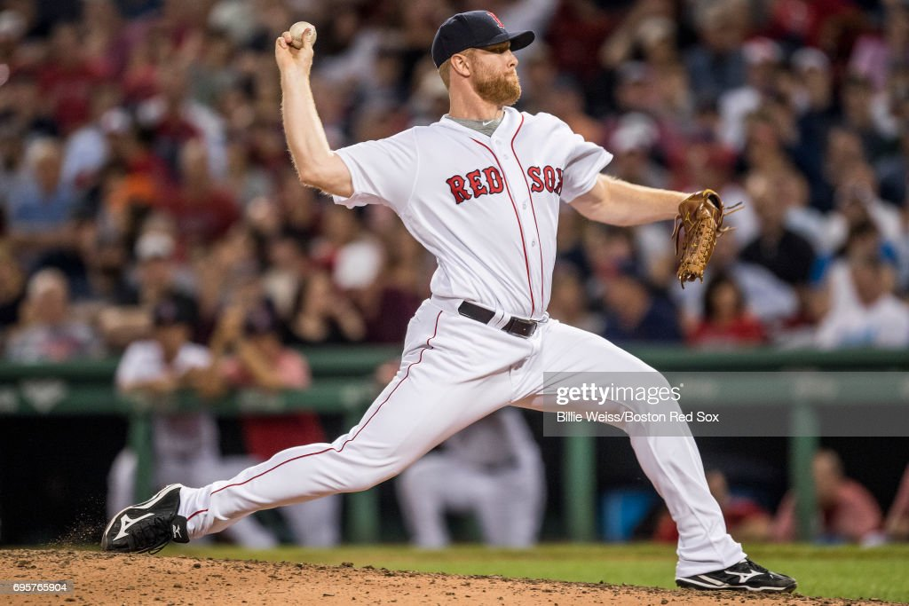 Blaine Boyer #51 of the Boston Red Sox delivers during the eighth inning of a game against the Philadelphia Phillies on June 13, 2017 at Fenway Park in Boston, Massachusetts.
