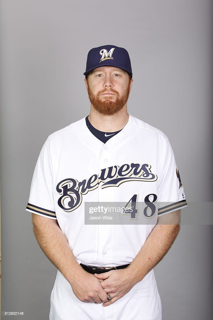 <a gi-track='captionPersonalityLinkClicked' href=/galleries/search?phrase=Blaine+Boyer&family=editorial&specificpeople=836412 ng-click='$event.stopPropagation()'>Blaine Boyer</a> #48 of the Milwaukee Brewers poses during Photo Day on Friday, February 26, 2016 at Maryvale Baseball Park in Phoenix, Arizona.