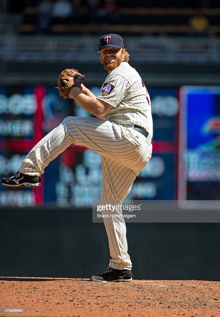 <a gi-track='captionPersonalityLinkClicked' href=/galleries/search?phrase=Blaine+Boyer&family=editorial&specificpeople=836412 ng-click='$event.stopPropagation()'>Blaine Boyer</a> #36 of the Minnesota Twins pitches against the Detroit Tigers on April 29, 2015 at Target Field in Minneapolis, Minnesota. The Tigers defeated the Twins 10-7.