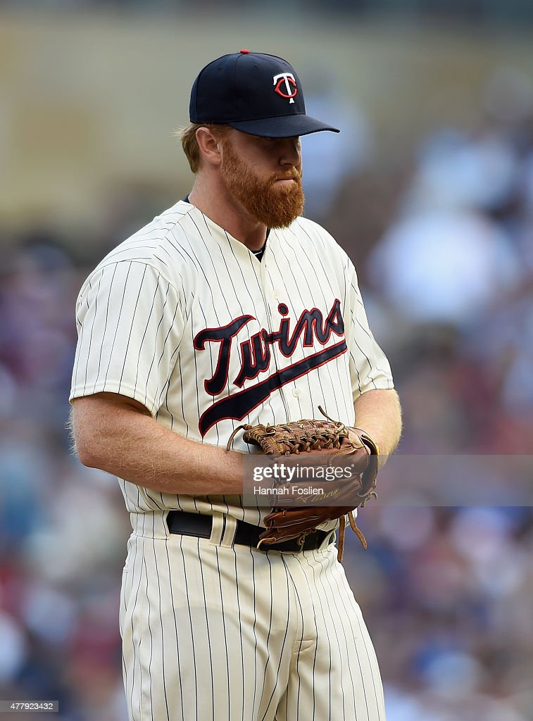 <a gi-track='captionPersonalityLinkClicked' href=/galleries/search?phrase=Blaine+Boyer&family=editorial&specificpeople=836412 ng-click='$event.stopPropagation()'>Blaine Boyer</a> #36 of the Minnesota Twins reacts after giving up an RBI single to Chris Denorfia #15 of the Chicago Cubs during the tenth inning of the game on June 20, 2015 at Target Field in Minneapolis, Minnesota. The Cubs defeated the Twins 4-1 in ten innings.