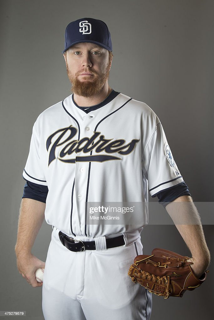 Blaine Boyer #58 of the San Diego Padres poses during Picture Day on February 21, 2014 at the Peoria Sports Complex in Peoria, Arizona.