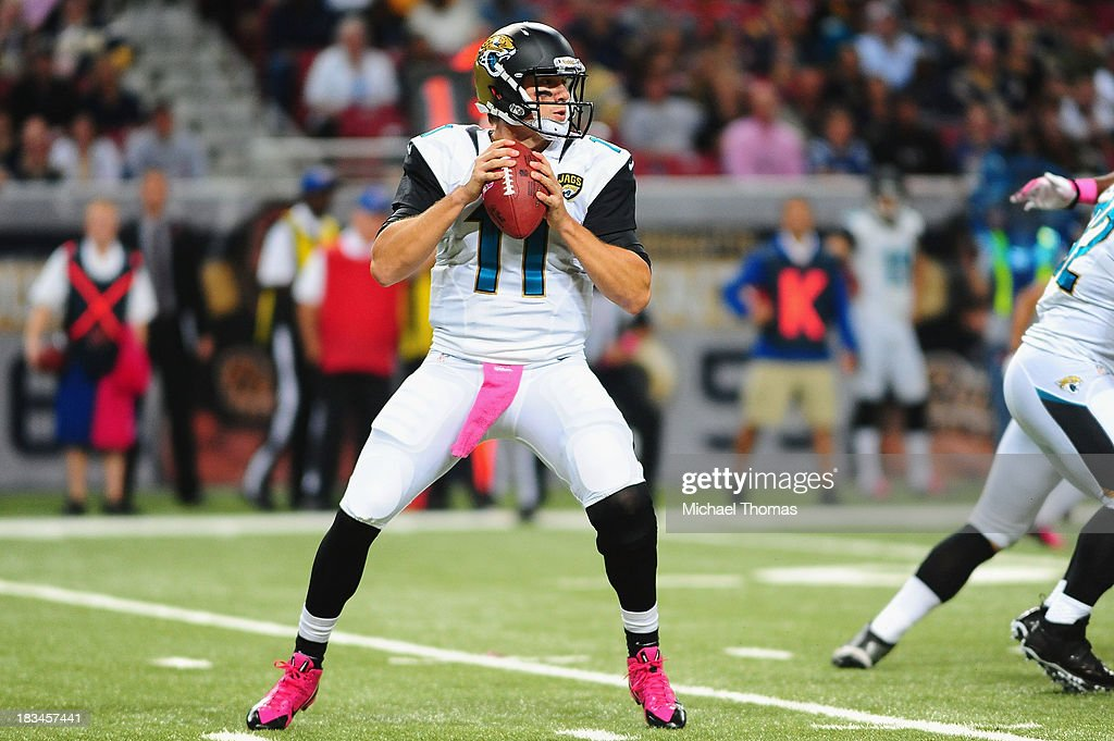 <a gi-track='captionPersonalityLinkClicked' href=/galleries/search?phrase=Blaine+Gabbert&family=editorial&specificpeople=6235134 ng-click='$event.stopPropagation()'>Blaine Gabbert</a> #11 of the Jacksonville Jaguars passes in a game against the St. Louis Rams at the Edward Jones Dome on October 6, 2013 in St. Louis, Missouri.