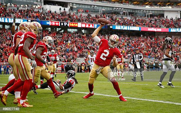 Blaine Gabbert of the San Francisco 49ers reacts after being tackled close to the goal line during the first half of their game against the Atlanta...