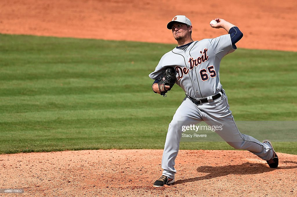 Blaine Hardy of the Detroit Tigers throws a pitch during a spring training game against the Houston Astros at Osceola County Stadium on March 12 2015...