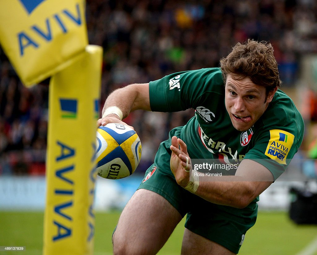 Blaine Scully of Leicester Tigers attempts to go over for a try during the Aviva Premiership match between Leicester Tigers and Saracens at Welford Road on May 10, 2014 in Leicester, England.