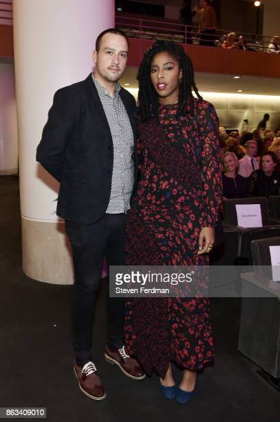 Blaine Spesak and Jessica Williams attend the 2017 Yes Gala at Brooklyn Museum on October 19 2017 in New York City